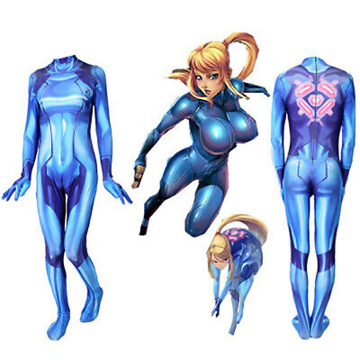US! Metroid Prime Samus Zero Women Tight Slim Costume Halloween Cosplay Props