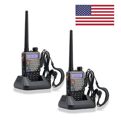 (US 2Pack Baofeng UV-5R + Plus FM Dual Band Transceiver Handheld HT Two way Radio)