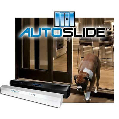 AutoSlide Deluxe Automatic Opening Patio Pet Dog Door System  in Black or White  Automatic Patio Pet Door