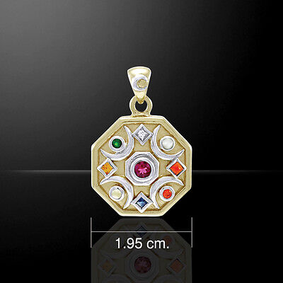 Chandra Edelsteine (Chandra Moon .925 Sterling Silver Mixed Gemstone Pendant by Peter Stone)