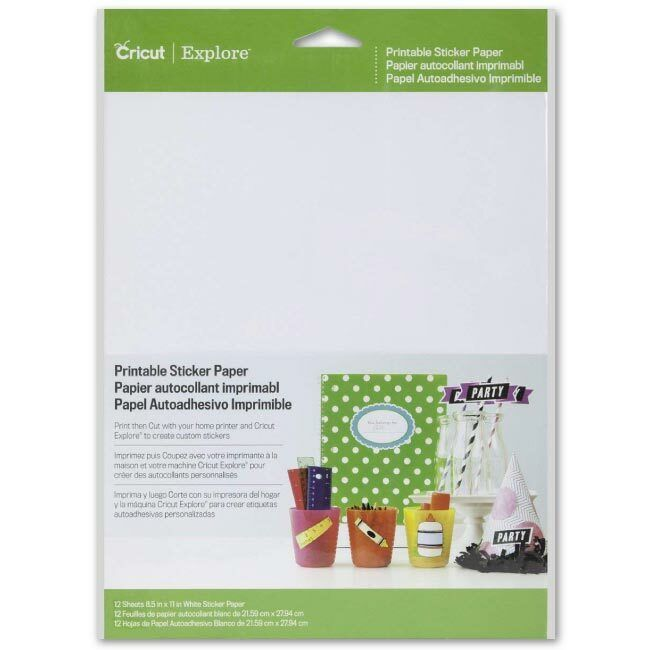 CRICUT PRINTABLE STICKER PAPER 8.5X12 for Cricut Explore Air 2 Machine