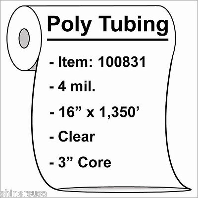 Poly Tubing Roll 16x1350 4 Mil Clear Heat Sealable Plastic Bag On Roll 100831