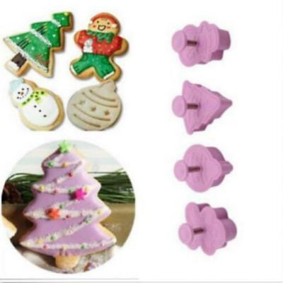 4Pcs Christmas 3D Snowman/ Xmas Tree Cookie Biscuit Plunger Cutter Mould CF ()