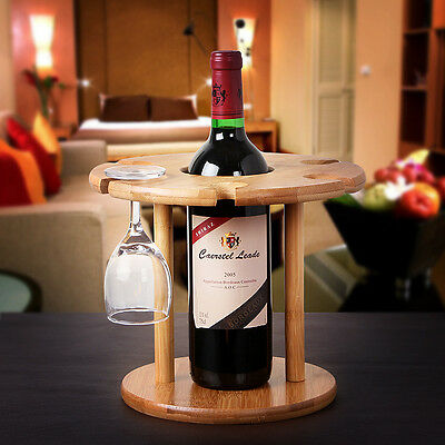 Bamboo Wine Bottle Wine Glass Rack Storage Holder Wood Shelf Decor Organizer