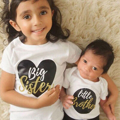 Little Boy Girl - Todder Little Brother Baby Boy Romper Big Sister Kids Girl T-shirt Tops Outfits