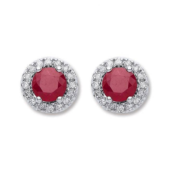 9ct White Gold 0.15ct Diamond Pave & 0.90ct 5mm Ruby Stud Earrings