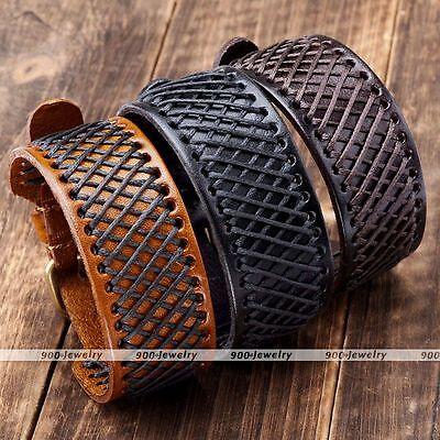 Punk Hemp Braided Genuine Leather Mens Belt Wristband Bangle Bracelet Cuff Gift ()