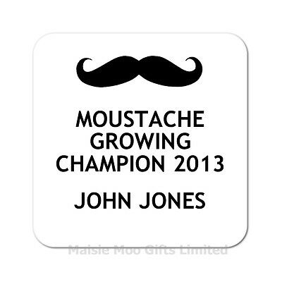 Personalised Movember Moustache Growing Champion Wooden Coaster | Gift | Prize