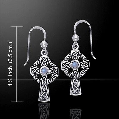 Celtic Knotwork .925 Sterling Silver Cross Earrings Choice of Gem Peter Stone Celtic Knotwork Silver Earrings