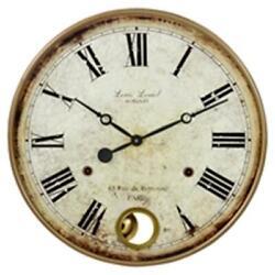 Large Wall Clock Big Vintage Rustic Antique Distressed Metal Wood 22 in Diameter