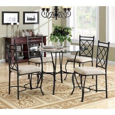 Glass Dining Table Set Round 5 PC Upholstered Chairs Metal Living Room Kitchen Living Room Upholstered Table