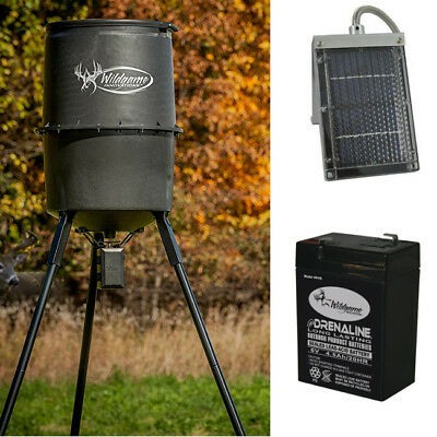 Deer Feeder Kit Game Hunting 225 Lbs Barrel Timer 6V Battery Solar Panel BUNDLE
