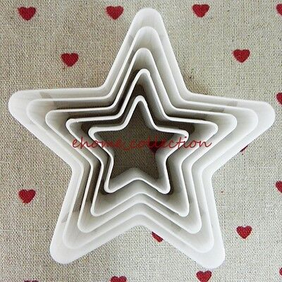 DIY Plastic Decorating 5pcs Cutter Star Plunger Fondant Cake Mould Pudding Tools Star Plunger Cutter