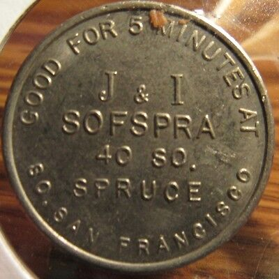 Vintage 1966 Denver Colorado Sofspra Park Oil Co Car Wash Token Good For 5 Min