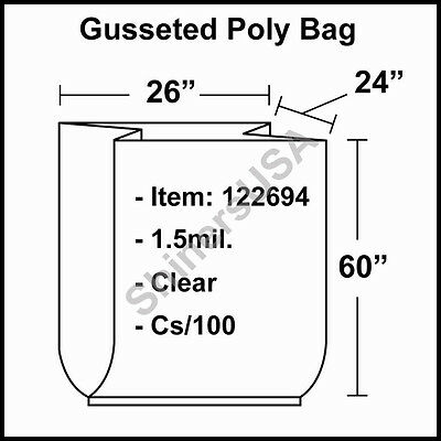 1.5 mil Gusseted Poly Bag 26x24x60 Clear FDA Approved  cs/100 (122694)