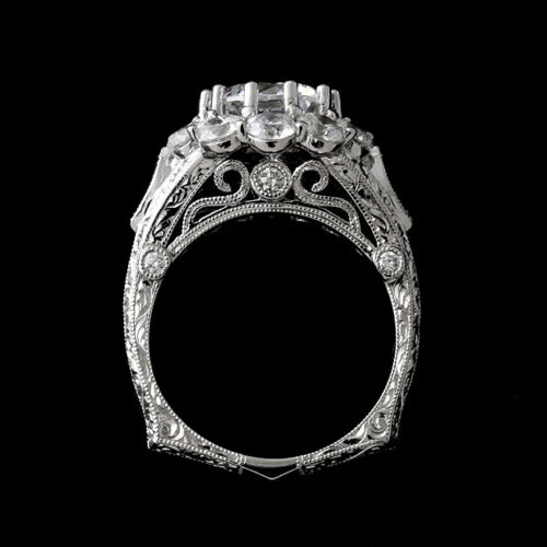 Antique Victorian Edwardian Decorative Filigree Ring 3 Ct Diamond 14K White Gold