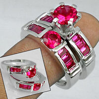 PINK RUBIES IN 925 HALLMARKED SILVER COUPLE RINGS size 5.5