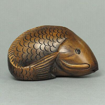 Japanese 1940's Netsuke Boxwood Wood Carp Fish Figurine Carving WN277