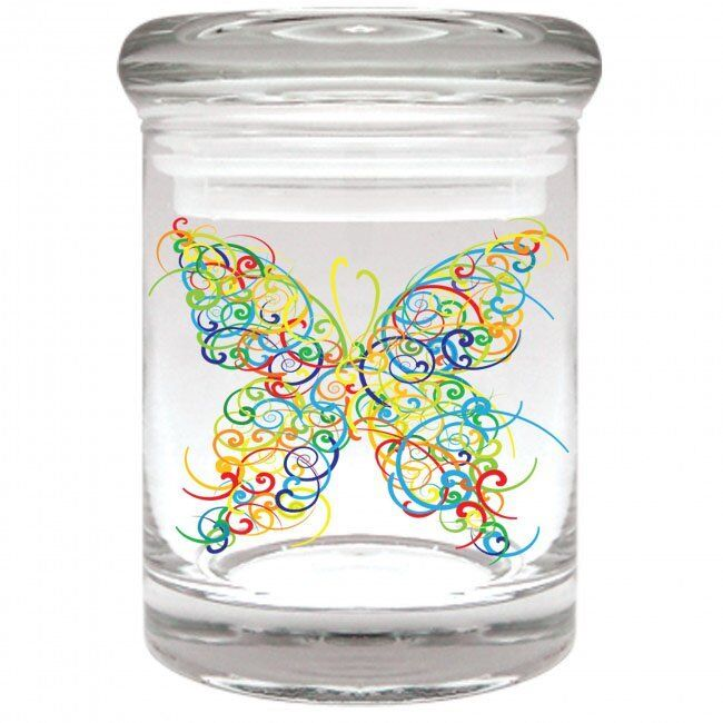 BUTTERFLY GLASS Airtight Smell Proof Spice Herb Storage STAS