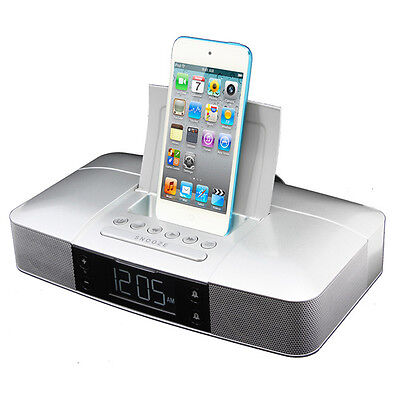 Capello Stereo FM Clock Alarm Radio with Lightning Dock for iPhone 5/5S and 6