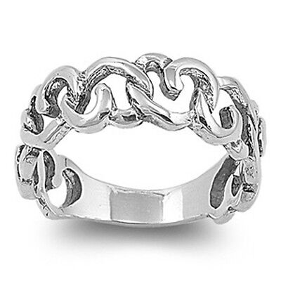 GIFT FOR HER! LOVE! PROMISE! HEART LINKS .925 Sterling Silver Ring Sizes 5-9