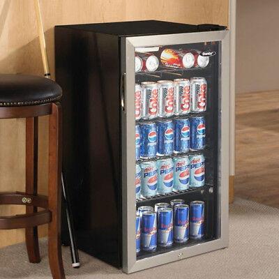 Beverage Refrigerator Cooler Compact Mini Bar Fridge Beer Soda Pop Glass Door Beverage Cooler Compact Refrigerator