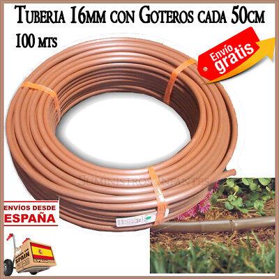 Tuberia goteo marron 16mm con goteros cada 50cm. Tubo turbulento riego. 100...