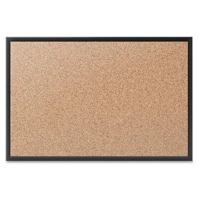 Quartet Bulletin Board - 48 Height X 72 Width - Natural Cork Surface - Black