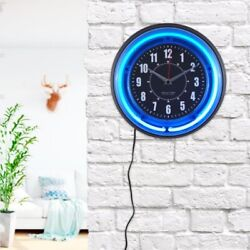 Neon Wall Clock Battery Operated Electric Vibrant Blue Light Analog Quartz Watch