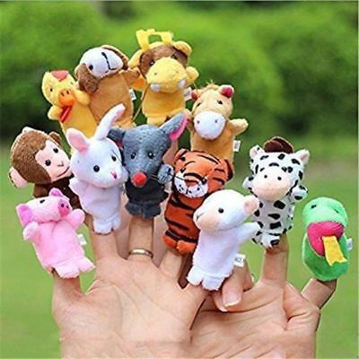 12x Farm Zoo Animal Finger Puppets Boys Girls Baby Educational Toys Plush Doll Q