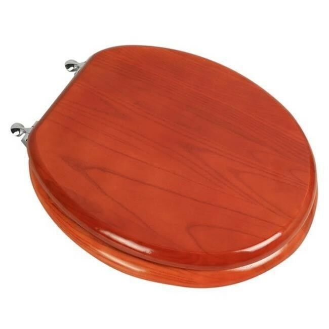 Marvelous Details About Designer Solid Round Oak Wood Toilet Seat With Chrome Hinges American Cherry Andrewgaddart Wooden Chair Designs For Living Room Andrewgaddartcom