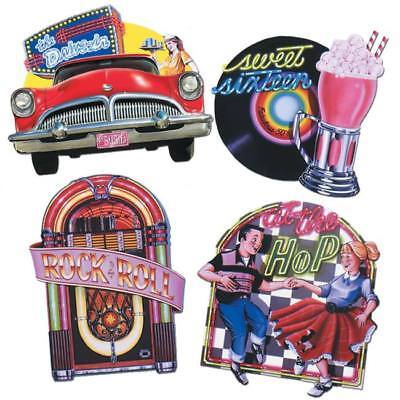 Fabulous 50's Cutouts 4 Pack 1950s Ice Cream Parlor Sock Hop Diner Party Decor - 50s Party Decor
