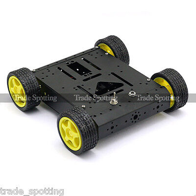 Sainsmart 4wd Drive Aluminum Mobile Car Black Robot Platform For Arduino Motor