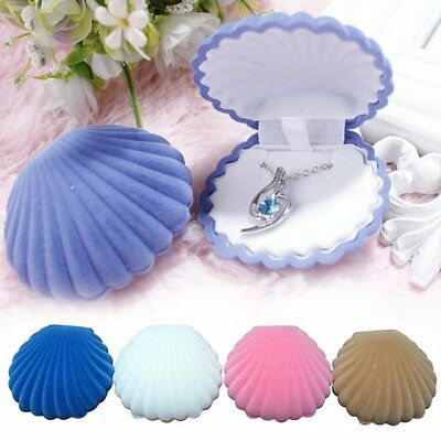 - Shell Shape Velvet Display Gift Box Jewelry Case For Necklace Earrings Ring NEW