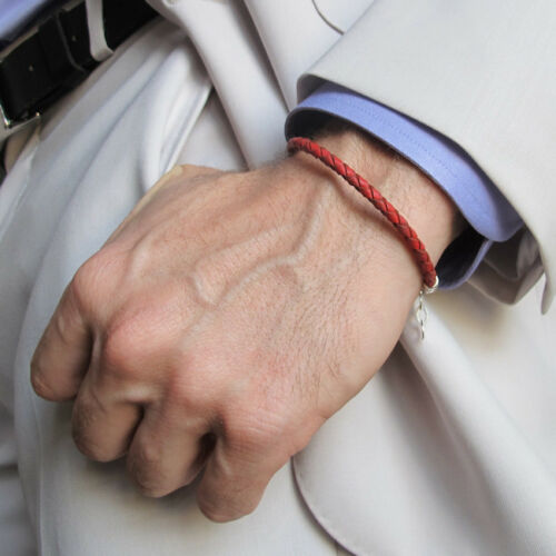 882241e657f3c0 Details about Red Leather Bracelet for men. Mens Bracelet Sterling Silver  Adjustable Wristband