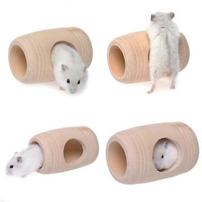 Wooden Nest Wood Tunnel Tube Hut House for Small Pet Hamsters Mice Toys -