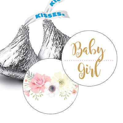 108  Boho Floral Girl Baby Shower Hershey Kiss Stickers Party Favors