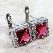 925 Sterling Silver Ruby Earrings