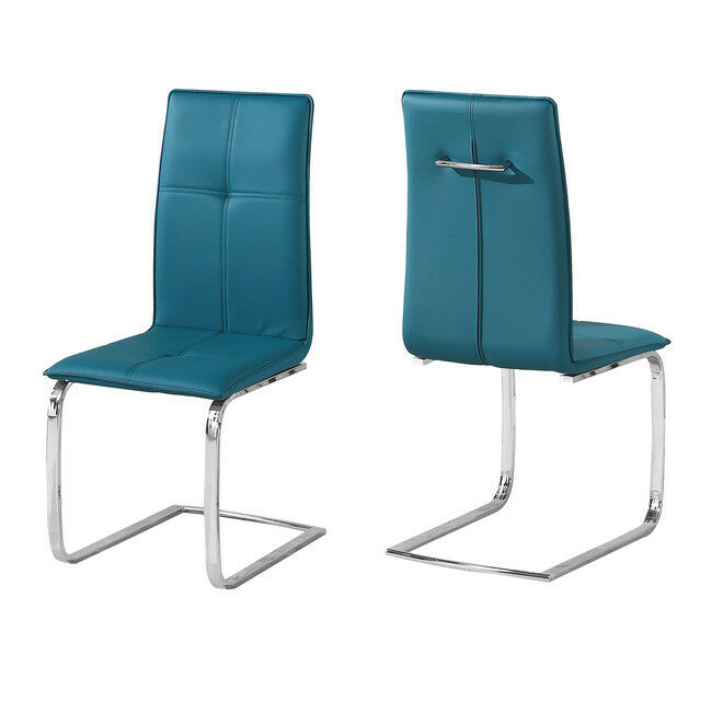 SLEEK MODERN TEAL BLUE FAUX LEATHER PAIR 2 DINING CHAIRS POLISHED CHROME LEGS