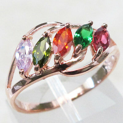 (FANCY MULTI STONE 925 STERLING SILVER ROSE GOLD TONE RING SIZE 5-10)