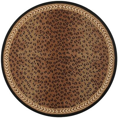 Hand Hooked Chelsea Leopard Brown Wool Rug 5 6 Round Ebay