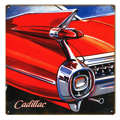 """Reproduction Oil Paintings by Bob Miller 1960's Cadillac Rear End Sign. 12""""x12"""""""