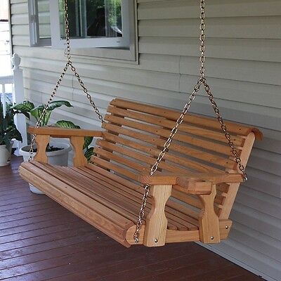 Amish Heavy Duty 800 Lb Roll Back Treated Porch Swing Hanging Chains & Cupholder