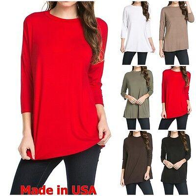 USA  Womens New Casual Mock Neck dolman 3/4 Sleeve Long Tunic Top Shirt S~XL Mock Neck Tunic Top