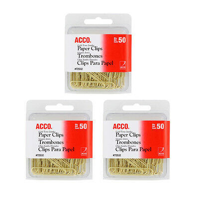 NEW Acco Gold Tone Jumbo Paper Clips, 1-/34