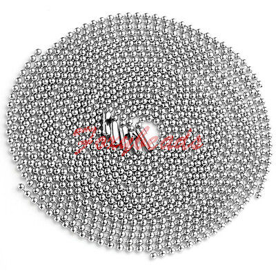 LOT 2MM Silver Stainless Steel Ball Beads Chain Necklace 19