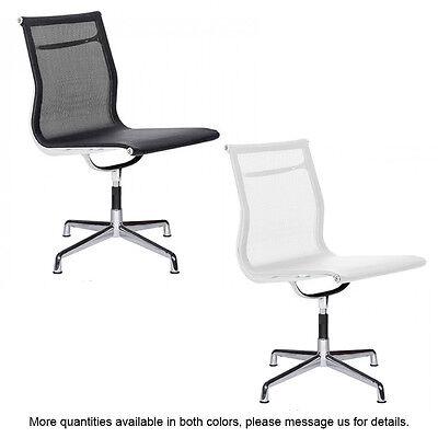 Mesh Side Chair Aluminum Frame Armless Modern Group Office Guest Chair Ergonomic