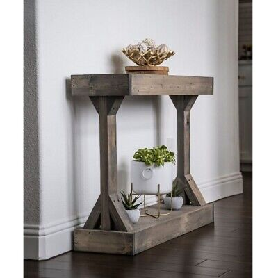 Rustic Entryway Table Storage Shelf Solid Wood Entry Console Accent Furniture