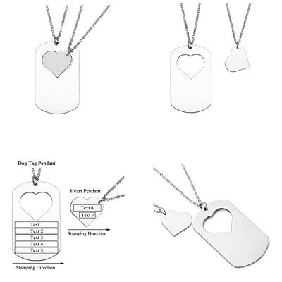 Personalised Custom Stainless Steel Dog Tag Heart Couple Pendant Necklace Gift - Personalized Gift