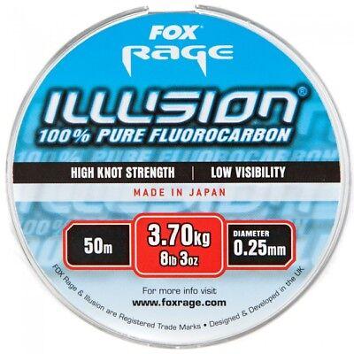 Brand New Fox Rage Illusion Pure Fluorocarbon 50m 10lb 3oz / 4.70kg 0.28mm